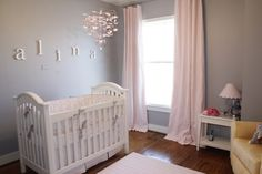 grey curtains nursery   Pink & Gray Alina's Baby Nursery, Pink and Gray Nursery for my Baby ...