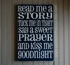 Read Me a Story Tuck Me in Tight Say a Sweet Prayer Kiss Me Goodnight Wooden Typography Subway Art Sign Kid Nursery