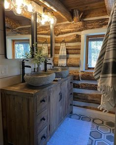 Rustic Bathrooms, Double Vanity, Master Bath, Michigan, Home Decor, Cabin, Touch, Country, Decoration Home