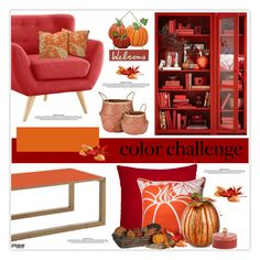"""""""Color Challenge: Pumpkin and Burgundy"""" by marion-fashionista-diva-miller ❤ liked on Polyvore featuring interior, interiors, interior design, home, home decor, interior decorating, Madura, Pillow Perfect, Improvements and Vera Bradley"""