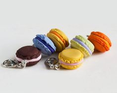 Macaroons Polymer Clay Crochet Stitch Marker Set of 4 by BelPunto, $15.00