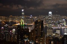 A view of Hong Kong at dusk from the central peak in China.