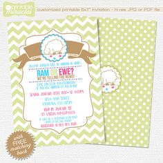 Gender reveal invitation - spring baby shower invite Printable easter sheep party card by MyPrintableMiracles