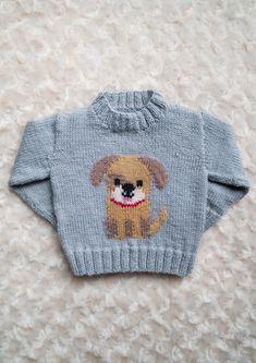 Intarsia – Doggy Chart – Childrens Sweater Knitting pattern by Instarsia – knitting charts Baby Boy Knitting Patterns, Baby Sweater Patterns, Baby Cardigan Knitting Pattern, Knitting Charts, Knitting For Kids, Baby Patterns, Easy Knitting, Pixel Crochet Blanket, Crochet Blankets