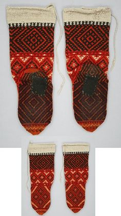 Woollen hand-knitted stockings for women. Macedonia, 1900 - 1929 Dimensions: L 45 cm x W 15 cm. Rhombic designs are generally an amulet against the evil eye. (Textile Museum of Canada).
