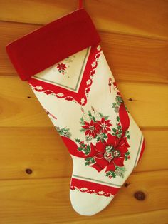 Christmas Stocking / Vintage Stocking / Large by AwayUpNorth, $45.00