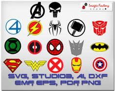 17 Super Heros Logos  This digital artwork can be used by cutting software, such as Cricut Design Space, Silhouette Studio, Sure Cuts A Lot (SCAL) and other cutting software. The high quality files will cut cleanly and smoothly since.   <[ WHAT YOU GET ]> - 17 Super Heros Logos in SVG, AI, DXF, EMF, EPS, PDF, studio3, Extra Big PNG  · Avengers  · Batman  · Capitan America  · Deadpool  · Fantastic Four  · Flash  · Green Lantern  · Iron Man  · Punisher  · Spiderman  · Spiderman face  · Su...