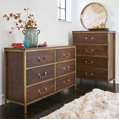 Our Cooper Bedroom Collection is all about solid hardwood construction and classic good looks. Crafted of mango wood with a pretty pecan brown finish, the dresser features six felt-lined drawers for stylish storage. The chest features four felt-lined drawers for stylish storage.