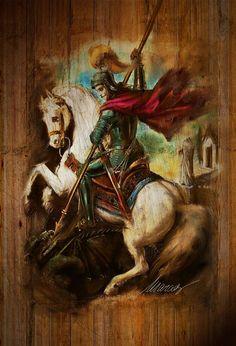 Sao Jorge by *marcospereira Orishas Yoruba, Barbarian King, Saint George And The Dragon, Religious Paintings, Dragon Slayer, Catholic Saints, Blessed Mother, Ceramic Painting, Kirchen
