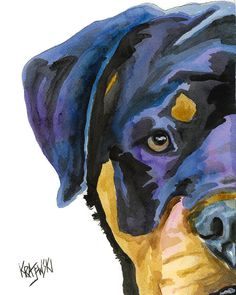 Impresión del arte de Rottweiler de acuarela Original  arte