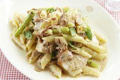 A creamy pasta combining pan-fried chicken, asparagus, shredded parmesan, basil, mushrooms and sliced honey ham.