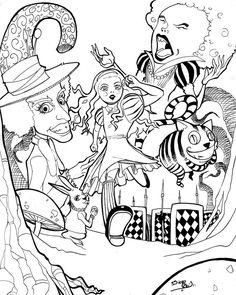 trippy cartoon drawings | Alice in Wonderland by reis-art