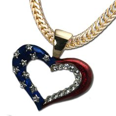 Outline Heart Neckslide - Elegant Heart with Red and Blue Enamel and Diamond-like Swarovski Crystals.