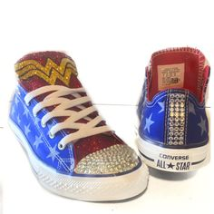 Women s Sparkly Wonder Woman SuperHero Glitter Converse All Star shoes  Sneakers 674f388de