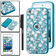 iPod Touch 6th Gen Case, iPod Touch 5th Gen Case, Luxca (Tm) iPod Touch (5th Generation) (6th Generation) Dual Layer Verge Hybrid Soft Silicone Cover Hard Plastic Case + Clear LCD Screen Protector + Stylus Pen (White Sakura / Teal Verge) Luxca http://www.amazon.com/dp/B00VKQWKXI/ref=cm_sw_r_pi_dp_QmzXvb0SFWNXE