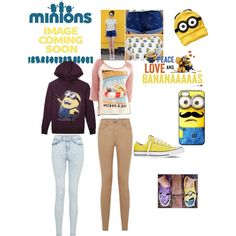 i got inspired by minions ! ._. ♡ by loverofeverything8infinite on Polyvore featuring polyvore fashion style Vans Converse Old Navy