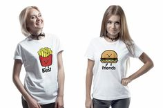 Printed T-Shirts – Set of two t-shirts for friends hamburger fries – a unique product by MoodyMood on DaWanda