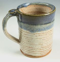 Bridges Pottery- Coffee Mug - Cup - Shiny Cream and Blue - Ready to Ship- In-Stock on Etsy, $28.00