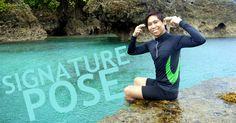 Akso Rojas doing his signature pose at Magpupungko Hole At Pilar, Siargao Island.   Too cool not to visit.
