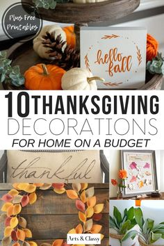 Sharing Thanksgiving decor printables for your home on a mindful budget. Aside from printables, you can gain inspiration and ideas for beautiful decor. Thanksgiving Decorations Outdoor, Outdoor Thanksgiving, Thanksgiving Crafts, Holiday Decorations, Dollar Store Halloween, Diy Halloween, Diy Craft Projects, Diy Crafts For Kids, Craft Ideas