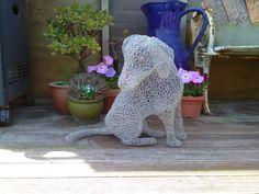Chicken wire puppy sculpture Chicken Wire Sculpture, Garden Sculpture, Dinosaur Stuffed Animal, Puppies, Outdoor Decor, Pattern, Animals, Design, Cubs