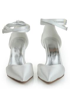 Women's Close Toe Satin Stiletto Heel Buckle Dance Shoes