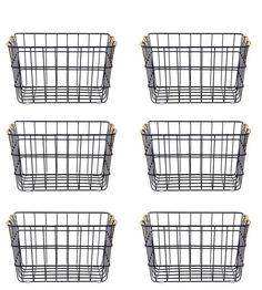 Wire Basket Decor, Black Wire Basket, Wire Baskets, Wire Basket Storage, Medicine Organization, Linen Closet Organization, Better Homes And Gardens, Laundry Room, Laundry Cart