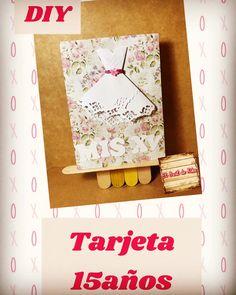 Tarjeta invitacion 15años quinceañera, en cartulina y papel para scrap con detalles en gomaeva/foamy