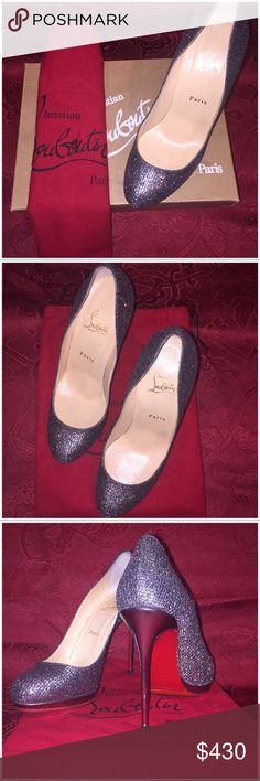 AUTHENTIC Christian Louboutin Filo Like-new Christian Louboutin Filo Silver Glitter 120 mm pumps. Original box and dust bag included. Shoes were taken to a shoemaker, added new soles with more protection. Open to offers 😊 Christian Louboutin Shoes Heels