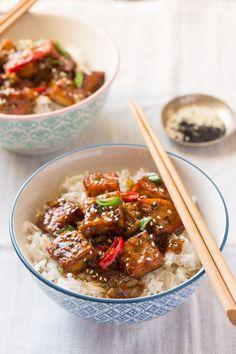 vegan black pepper tofu with rice
