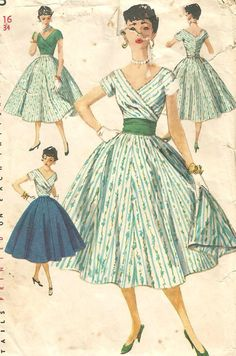 Vintage 50s Simplicity 1123 Misses Full Skirt  Wide by RomasMaison