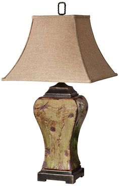 Uttermost Porano Moss Green Distressed Porcelain Table Lamp -