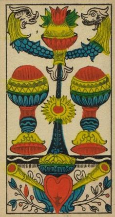 2 of Cups. From the Tarot de Marseille.