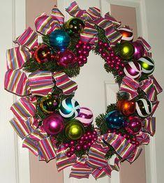 Ribbon and ornament wreath 3