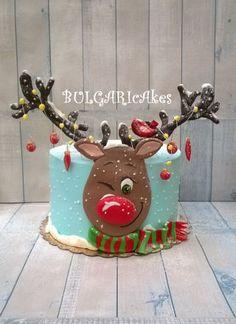 :) - cake by BULGARIcAkes - CakesDecor - Winter Christmas - Celebration Christmas Birthday Cake, Mini Christmas Cakes, Christmas Cake Designs, Christmas Cake Decorations, Christmas Sweets, Holiday Cakes, Christmas Cooking, Christmas Mood, Noel Christmas