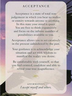 "Today's Wisdom Card & Affirmation Is ""Acceptance"" - I accept myself and others. ♥ Abundant Love, Blessings & (((Soul-Hugs)))- Jacqueline ♥ www.JacquelineJGarner.com ♥ Youtube.com/JacquelineJGarner ♥ www.Facebook.com/JacquelineJGarner ♥   To purchase this card deck- I have a link for them along with several free online card readings on my website at http://www.jacquelinejgarner.com/angel-oracle-card-decks-free-online-card-readings.html ♥"