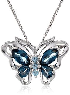 Blue Topaz Butterfly Pendant Necklace, A perfect gift for your love ones :)
