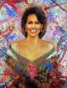 First Lady Michelle Obama, chose Urbano Galindo,a strikingly modern artist for Mrs. Obama to consider, for her own official portrait. Official Presidential Portraits, Barak And Michelle Obama, Barack Obama Family, Obama President, Michelle Obama Fashion, Black History Books, American Spirit, My Black Is Beautiful, Modern Artists