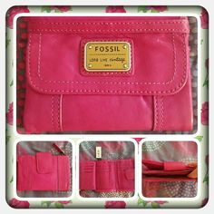 NWT Genuine Pink Leather Fossil Wallet  Brand New Never Used Genuine Leather Wallet From Fossil In A Pretty Pink. This wallet Is Beautiful And So Soft. There Are So Many Pockets For Cash, Cards And Other Items. I Bought From Another Seller And Was Told It's Never Been Used. Excellent Condition ( OPEN TO REASONABLE OFFERS ONLY )  TRADES  NO PayPal  OFFERS PRICE IS FIRM  Fossil Bags Wallets