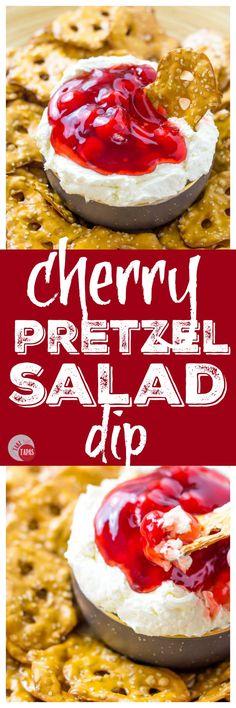 A new twist on pretzel salad is my Cherry Pretzel Salad Dip | Take Two Tapas