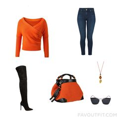Look Mix & Match Featuring Sweater Super Skinny Jeans Gianvito Rossi Boots And Zip Bag From September 2016 #outfit #look