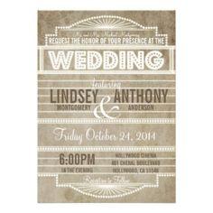 wedding invites ticket stubs | Vintage 1920's Movie Marquee Wedding Invitation