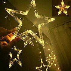 Star String Lights, Indoor String Lights, Diwali Lights, Plastic Curtains, Led Curtain Lights, Hanging Stars, Decoration Christmas, Wedding Decoration, Star Wars