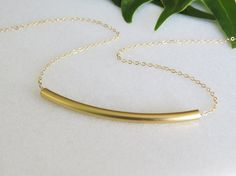 Gold Necklace  Gold curve bar necklace Tube by HLcollection, $27.00