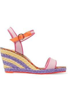 Wedge heel measures approximately 90mm/ 3.5 inches Baby-pink canvas, bright-pink and neon-orange leather Buckle-fastening ankle strap Imported