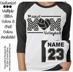 Glitter Volleyball Mom Chevron Tri-Blend Raglan, Custom Volleyball Raglan…