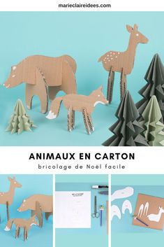 Un bricolage de Noël facile et rapide à faire avec les enfants Woodland cardboard animals Forest Cabin in the woods Related posts:We bet you would never have thought of making toys from socks. Cardboard Animals, Cardboard Toys, Cardboard Crafts Kids, Simple Christmas, Christmas Crafts, Kids Christmas, Diy For Kids, Crafts For Kids, Animal Cutouts