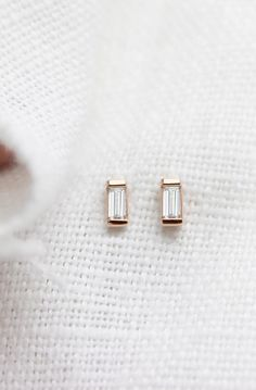 14k rose gold Baguette Earrings | Vrai & Oro