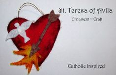 Teresa of Avila Craft {Liturgical Ornament} ~ Catholic Inspired Catholic Crafts, Catholic Kids, Catholic Homeschooling, Ornament Crafts, Felt Ornaments, St Theresa Of Avila, Ccd Activities, Crafts For Kids, Arts And Crafts
