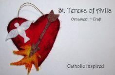 Teresa of Avila Craft {Liturgical Ornament} ~ Catholic Inspired Catholic Crafts, Catholic Kids, Catholic Homeschooling, Art For Kids, Crafts For Kids, Arts And Crafts, Ornament Crafts, Felt Ornaments, St Theresa Of Avila